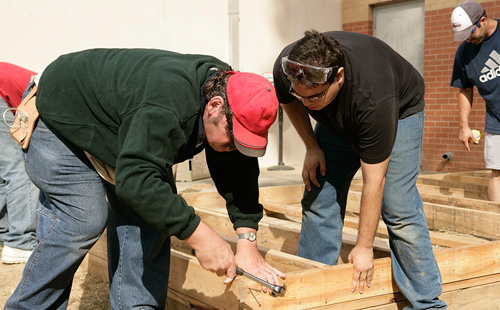 Students building in MC carpentry class