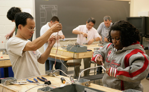 Students in electrical wiring class