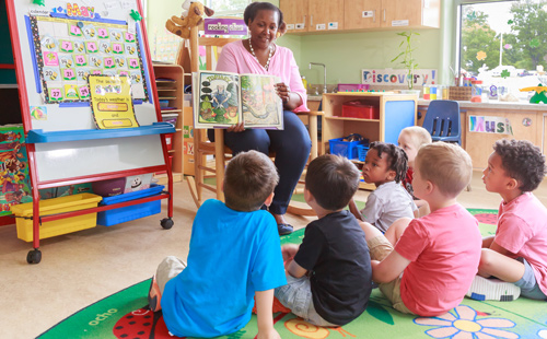 Teacher reading a book to pre-k students