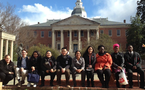 Students in front of the MD State House