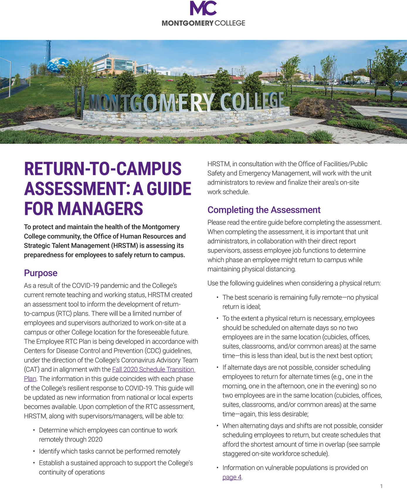 Return-to-Campus Assessment: A Guide for Managers