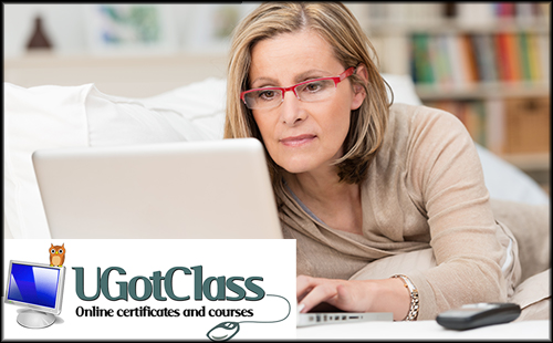Woman with a laptop taking an online class